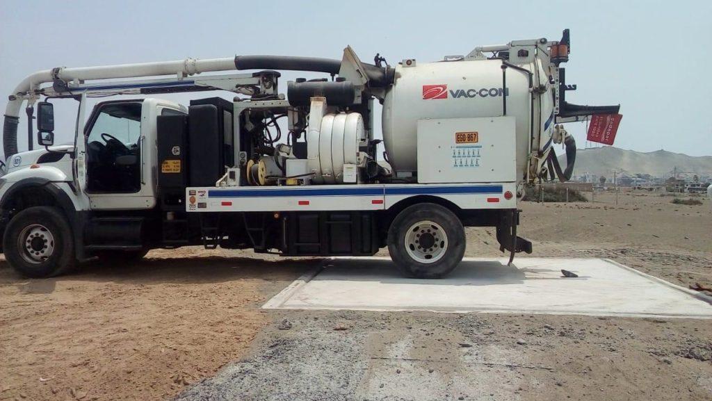 Limpieza de desague con camión hidrojet